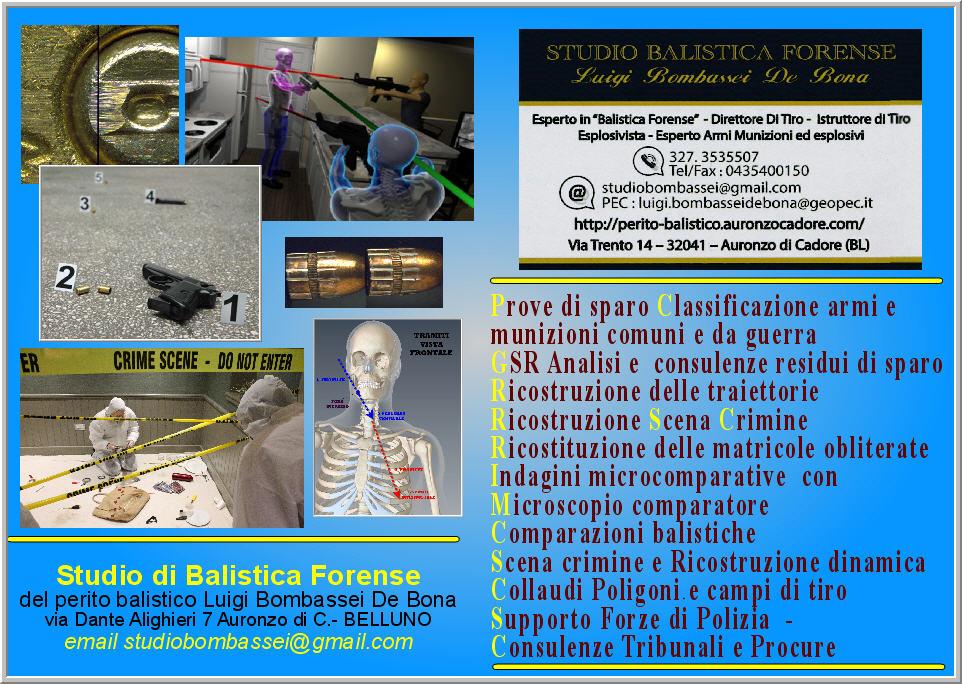 perito Balistico Studio Balistica Roma Napoli Firenze Bologna Verona Udine Milano
